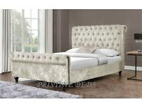 🔥💗🔥BLACK SILVER & CHAMPAGNE🔥❤🔥BRAND NEW DOUBLE/KING DIAMOND CRUSHED VELVET SLEIGH BED &MATTRESS