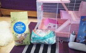 Large Pink Hamster Cage & Accessories