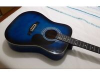 FALCON ACOUSTIC GUITAR _ BLUE SUNBURST, FULL SIZED DREADNOUGHT BODY, IDEAL FOR BEGINNERS