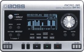 Boss BR-80 Pocket 8 track digital studio/Eband player and Field recorder + power supply