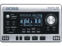 Boss BR-80 Pocket 8 track digital studio/Eband player and Field recorder + power supply