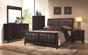 Gorgeous 4 or 5 piece Bedroom Set in Cappuccino Colour-Delivery Nationwide!  Pick up at your local freight terminal