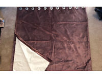 Pair of lined plum coloured velour curtains (ringlet top)
