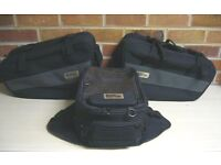 A set of Oxford Lifetime soft motorcycle panniers and matching magnetic tank bag.