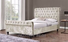 SAME DAY 3FT 4FT 5FT Crushed Velvet Diamond Sleigh Bed AVALABLE IN BLACK SILVER AND CREAM COLOR