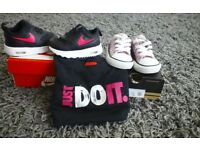 Childs nike trainers and converse also tee-shirt.