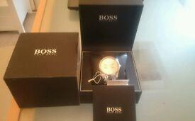 Hugo Boss 1513128 Men's Bronze Dial Stainless Steel Case Silver Strap Watch