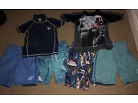 Bundle of Next UV tops and swim shorts, age 6