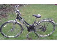 LADIES AMMACO CITY BIKE INCLUDING LIGHTS & WOODEN BASKET IN GOOD CONDITION