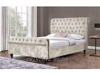 ◄❤Contemporary Design❤► Brand New 4FT6 Double / 5FT King Diamond Crushed Velvet Sleigh Designer Bed
