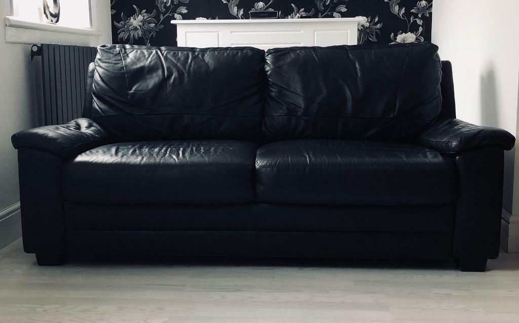 2 x Black Leather Sofas