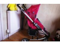 VERY PRETTY & SPOTLESSLY CLEAN, PINK BUGGY + RAINCOVER **FREE DELIVERY HULL**