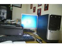 "Desktop pc with 17"" monitor and all in one printer"