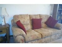 As new 3 seater sofa + 2 matching armchairs.
