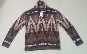 POLO RALPH LAUREN Brown AZTEC Shawl-Neck Cardigan Sweater Southwestern Size S