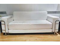 Ilva Le Corbusier Style Sofa Bed 2 Seater White / chrome