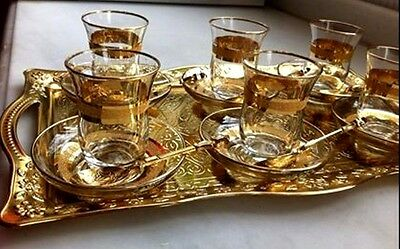 Turkish Tea Set:Gold Trim Glass Cups Saucers Spoons Gold Color Tray Brass coated