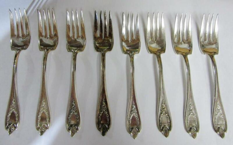 1847 ROGERS OLD COLONY SilverPlate  SALAD FORKS,  8 Pcs   FREE SHIP