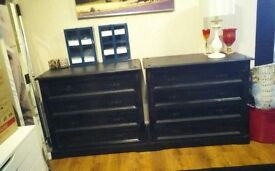 Pair of sturdy black drawers