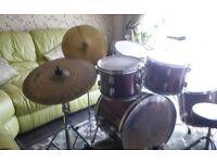 Well used drum kit