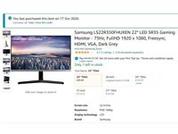 Samsung 22'' Monitor in great condition (bought in October) - Availabl