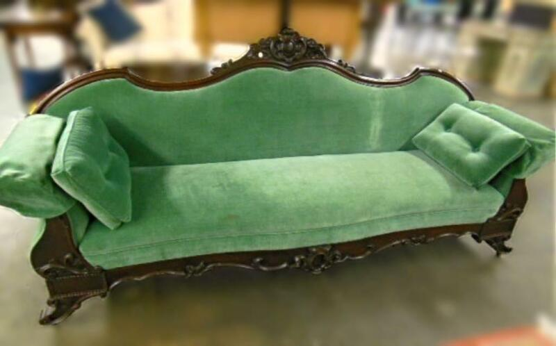 1850 Antique Classical Mahogany Green American Sofa Chaise Loveseat Bed 19th C