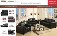 2pc  Leather Sofa Set( Sofa & Loveseat  ) on sale