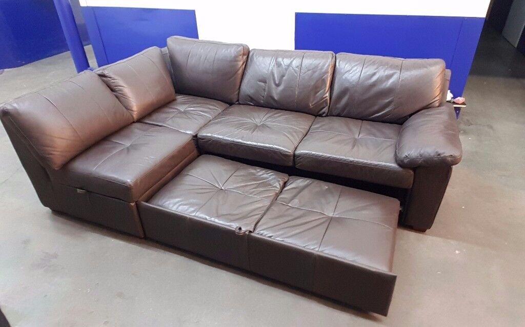 Sofalogic L Shape Corner Sofa Bed Storage In Brown Leather