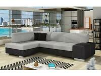 Brand New L Shape Sofa Bed with built in Ottoman!