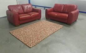 Red itlian sofa set with John Lewis rug