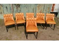 Vintage Retro Button back faux leather dining chairs Tan