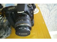 CANON 30D camera with accessories and bag.