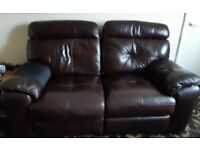 brown 2 seater leather sofa and 1 chair.Both recliners , imaculate condition, well looked after