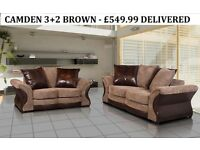 camden fabric 3+2 sofa set brown or grey all sofas guaranteed plus many more new ranges