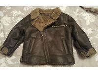 Next boys warm faux leather pilot flight jacket with fleece lining 2-3 years
