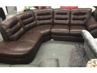DFS ripple brown leather corner sofa