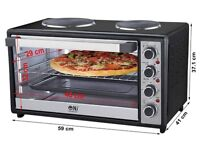 45L Electric Oven 2 Hot Plate - Convection - Grill Hob Rotisserie Table Top 3600W