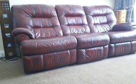 Leather Settee & Chair Reclining