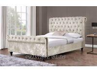 ❤Black Silver Champagne❤ Double / King Diamond Crushed Velvet Chesterfield Style Sleigh Designer Bed