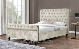 **BEST SELLING BRAND** NEW DOUBLE AND KING CRUSHED VELVET SLEIGH BED & MEMORY FOAM MATTRESS