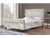❤Get It B4 It Ends❤ New Double / King Diamond Crushed Velvet Chesterfield Style Sleigh Designer Bed