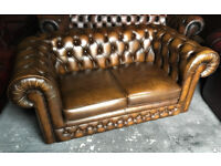 Antique golden brown 2 seater Chesterfield sofa