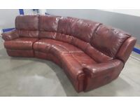OX Red chesterfield Style Leather Corner Electric Recliner