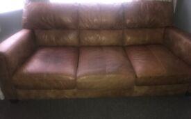 Leather 3 seater sofa- Tan distressed