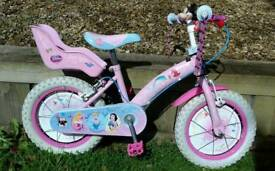 """Disney Princess Pink 14 """" wheel bicycle in excellent condition."""