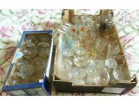 2 boxes of vintage cocktail glasses - babycham, britvic, cherry b, snowball etc