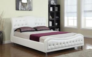 FULL BED FRAME | ALSO AVAILABLE - LOW PLATFORM BED WITH LIGHTS, MODERN COOL LOOKING LEATHER BED (IF112)