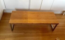 COFFEE TABLE- modern, warm, solid bamboo (butcher's block) & steel, handmade.