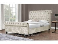 *BLACK CHAMPAGNE & SILVER* BRAND NEW CRUSHED VELVET SLEIGH DOUBLE BED FRAME IN BLACK, GOLD & SILVER