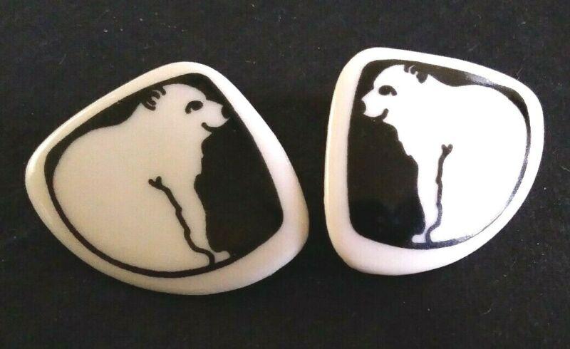 Vintage black and white ceramic disk polar bear pierced earrings